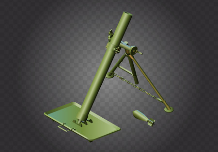 cannonball: Mortar military weapon isometric flat vector 3d illustration isolated on white background Illustration