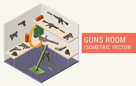 gunfire: Isometric vector guns room with beretta handguns, m4a1 assault rifle, minigun, mp5 submachine gun, dynamite, grenades, mortar grenade launcher. Room with rack and weapons.