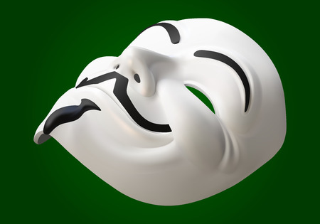fawkes: anonymous activist mask eps10 vector 3d illustration