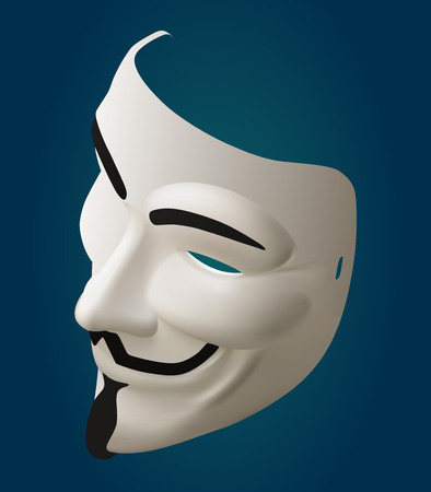 fawkes: mysterious hacker mask eps10 vector 3d illustration