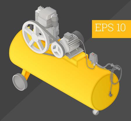 condenser: air compressor eps10 vector illustration. compressor-condenser tank