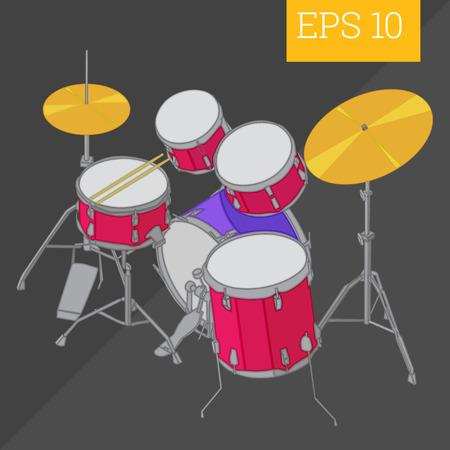 bass drum: drum kit eps10 vector illustration. bass drum musical instrument