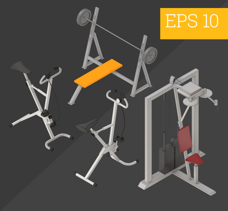 gym equipment collection with fitness bicycle, pulldown exercise machine, pushups bench eps10 vector illustration