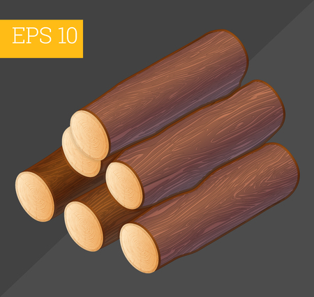 firewood: wooden pile eps10 vector illustration. stacked firewood logs