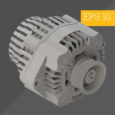alternateur: electric car generator eps10 vector illustration. automotive alternator