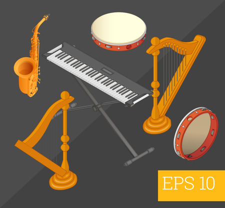 musical instruments collection harp, saxophone, synthesizer, tambourine eps10 vector illustration