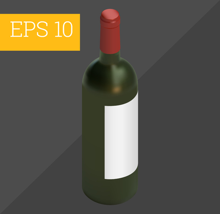 wine bottle with copy space eps10 vector 3d illustration. Illustration
