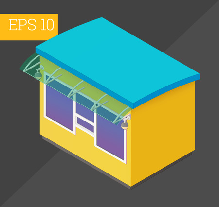 vitrine: kiosk eps10 vector illustration. micro business vendor counter.