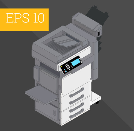 printshop: Copier printer eps10 vector illustration. realistic printer and scanner