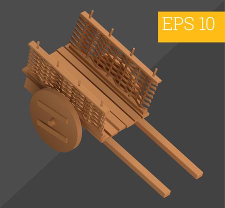 wagon: wooden hand-barrow wagon eps10 vector illustration. wheelbarrow