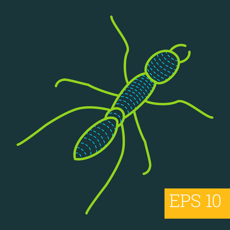 arthropoda: formicidae linear vector illustration. insect outline icon. Illustration