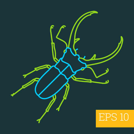 stagbeetle linear vector illustration. insect outline icon. Illustration