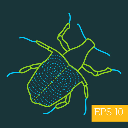 hexapoda: cerambycidae bug linear vector illustration. insect outline icon.