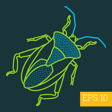 geotrupidae: imago bug linear vector illustration. insect outline icon. Illustration