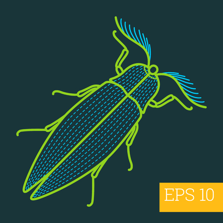 geotrupidae: bug insect linear vector illustration. beetle outline icon. Illustration