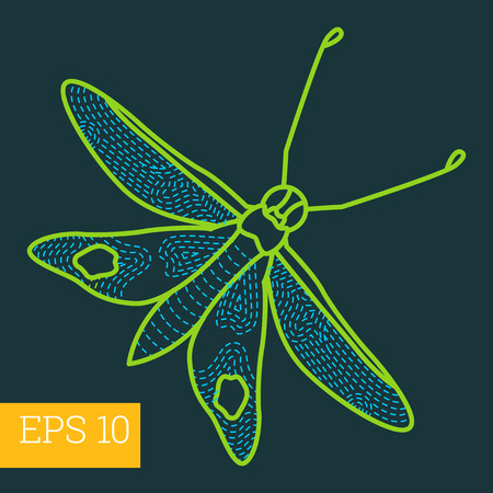 hawk-moth linear vector illustration. insect outline icon. Illustration