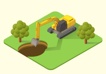 dredge to dig: excavator dig machine vector isometric illustration. mining excavator flat.
