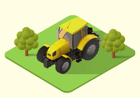 agronomics: tractor vector isometric illustration. farm machine axonometric view Illustration