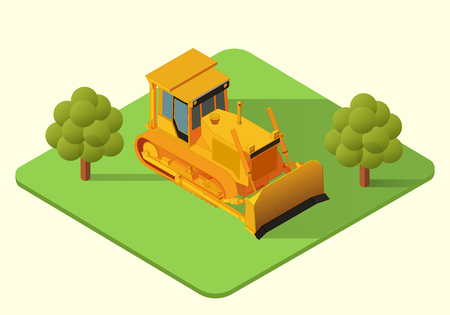 skid: bulldozer heavy machine  isometric illustration. 3d earthmover Illustration