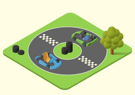 kart sport car vector isometric illustration. karting race lap picture Çizim
