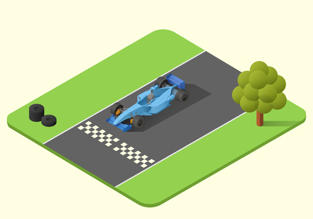formula one race car  isometric illustration. indy car axonometric
