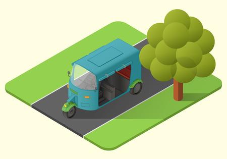 tuk tuk three wheeler asian vehicle  isometric illustration. rickshaw mototaxi. minicab axonometric