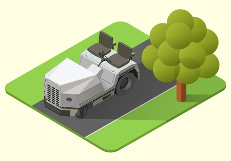 airport baggage truck vector isometric illustration. tugger axonometric Illustration