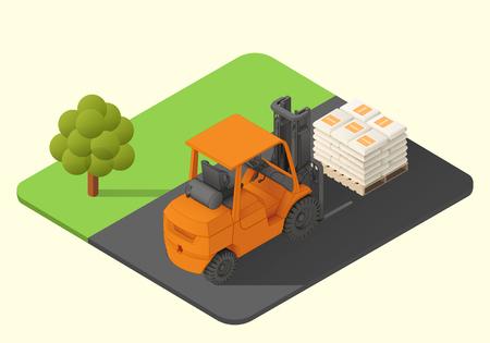 fork lifts trucks: forklift truck vector isometric illustration. stacker machine axonometric