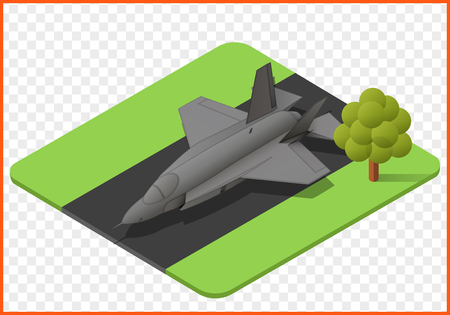 military jet plane isometric isolated vector eps Illustration. fighter airplane 3d