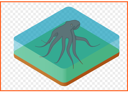 octopus devilfish vector isometric illustation. underwater inhabitant of sea