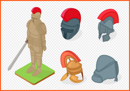 knight armor and helmets set vector isometric illustation.