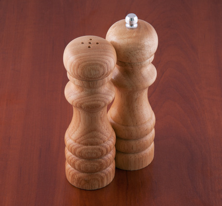 pepperbox: Saltcellar and pepperbox on a table