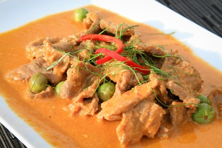 Beef in red curry Stock Photo
