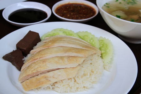 chicken rice: rice steamed with chicken soup