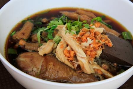 thai noodle soup: Chicken noodle in black soup