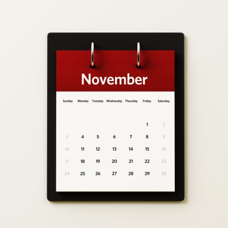 November Calendar Planning Stock Photo