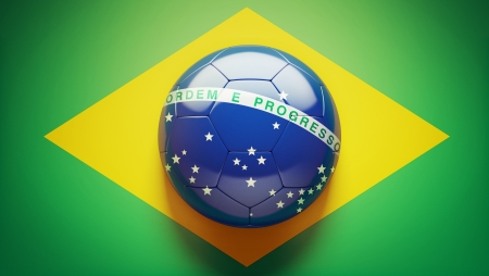 Braziliaanse Vlag Voetbal Stockfoto