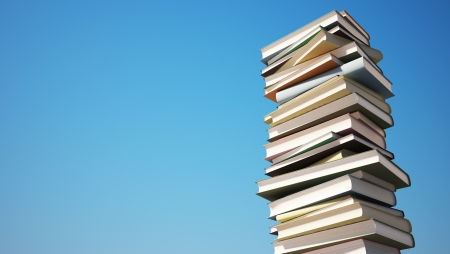 Colorful Stack of Books with Clipping Path