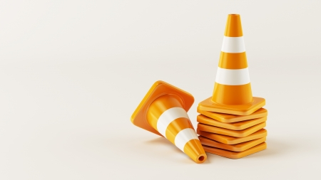 construction safety: Traffic Cones  Stock Photo