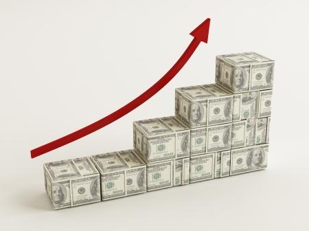 bar graph: Dollars Bar Graph Stock Photo