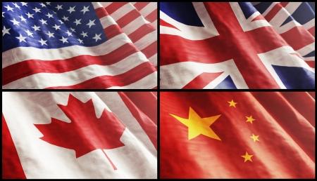 Flags XL  USA, England, Canada and China photo