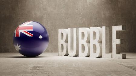 overvalued: Australia High Resolution Bubble  Concept Stock Photo