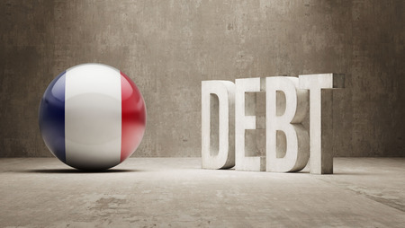 subprime mortgage crisis: France High Resolution Debt  Concept Stock Photo