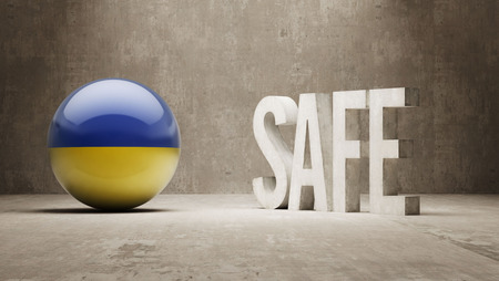 cautionary: Ukraine Safe Concept Stock Photo
