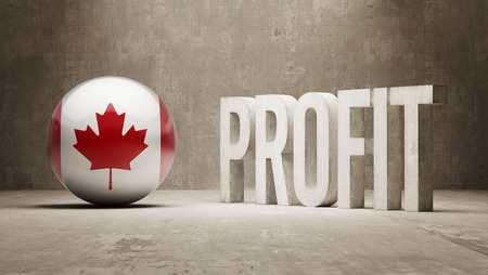 canadian flag: Canada   Profit Concept Stock Photo