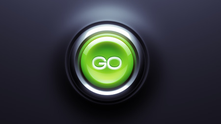 go button: Go Button isolated on dark background