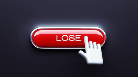 Lose Button isolated on dark background photo