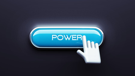 Power Button isolated on dark background photo