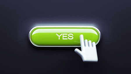 Yes Button isolated on dark background photo