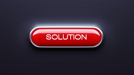 Solution Button isolated on dark background photo